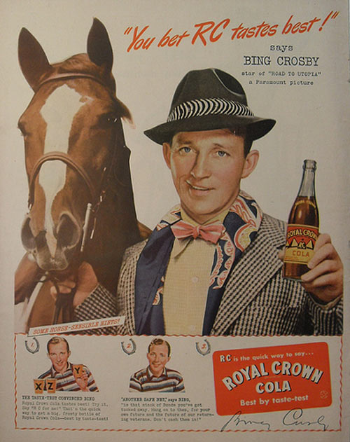 1940s vintage hollywood BING CROSBY royal crown RC cola Soda Vintage Advertisement Illustration