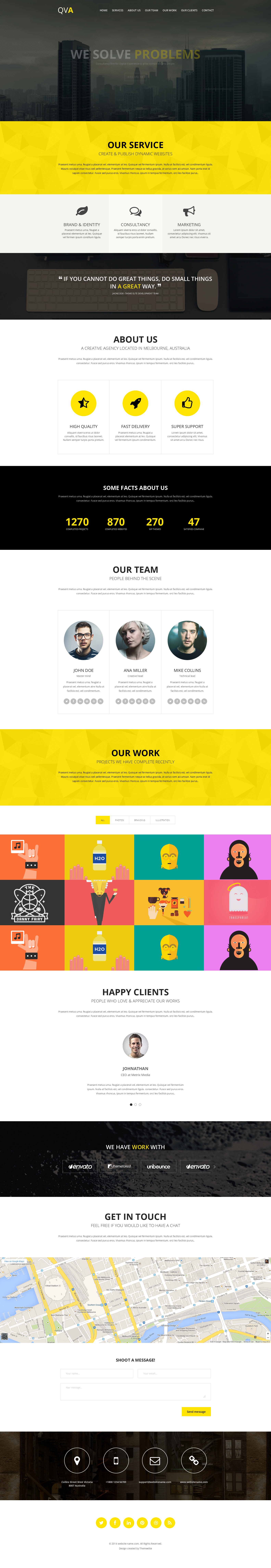 QVA – One Page Multi-purpose HTML Template